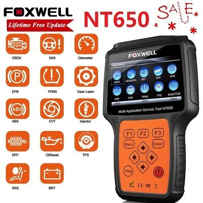 FOXWELL NT650 OBDII Diagnostic Scan Tool TPMS ABS SAS EPB DPF Injector Oil Reset