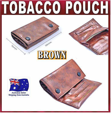 Brown PU Leather Cigarette Tobacco Pouch Bag Case Filter Rolling Paper SMOKING