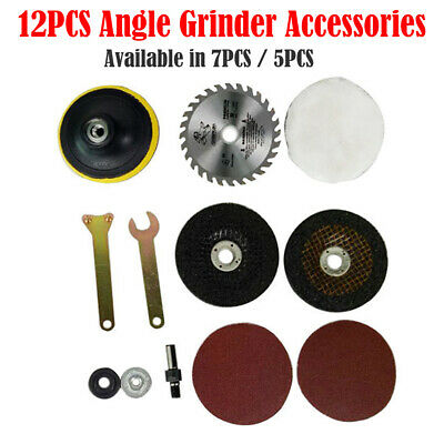12/7/5pc Hand Drill Variable Angle Grinder Accessories Set For Cutting Polishing