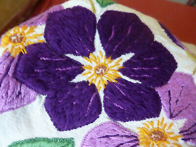 Hand embroidered vintage linen tablecloth, bold purple flowers
