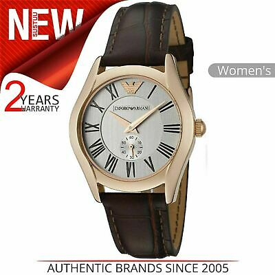 Emporio Armani Classic Ladies Watch AR0678¦Chronograph Dial¦Brown Leather Strap