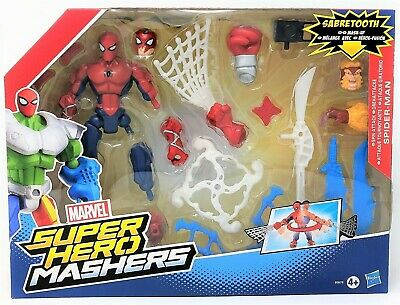 "Marvel Super Hero Mashers Spiderman Spin Attack Sabretooth 6"" Figure Toy"