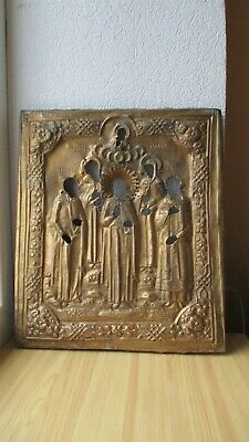Icona Russa,Antique Russian Orthodox icon riza,,Holy Saints,,from 19c.