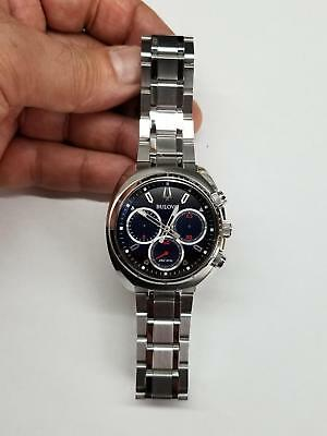 Bulova Curv Chronograph Blue Dial Stainless Steel Men's Watch 96A185 Pre-Owned