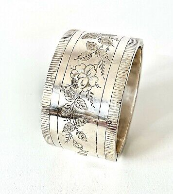Antique Victorian Sterling Silver 1882 Floral Engraved Chunky CUFF Bangle