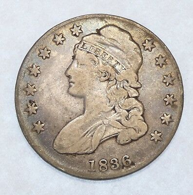 1836 Capped Bust/Lettered Edge Half Dollar Very Good Silver 50c
