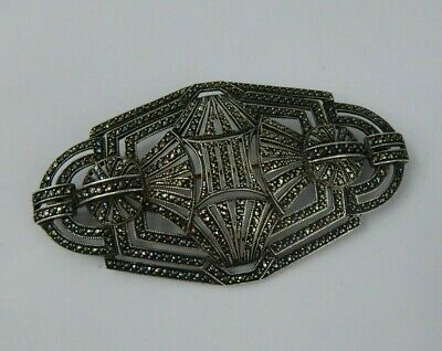 a Large Art Deco Geometric Silver & Marcasite brooch Stunning 1930s-1950s