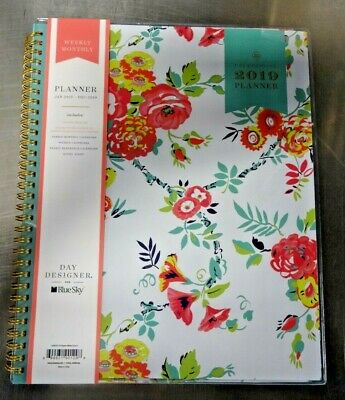photo about Day Designer for Blue Sky called Working day DESIGNER FOR Blue Sky 103618-19 Floral Weekly Every month Planner 2019 Contemporary