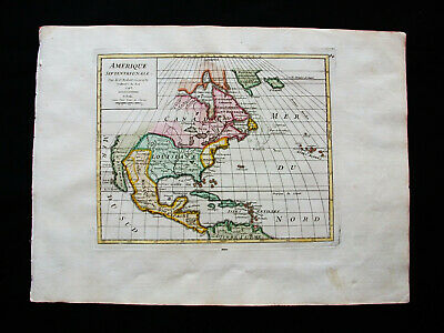 1749 VAUGONDY - orig. map of NORTH AMERICA, UNITED STATES, CANADA, MEXICO, TEXAS