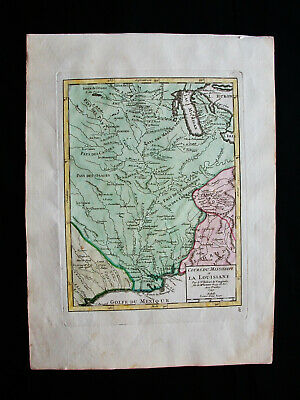 1749 VAUGONDY - orig. map of NORTH AMERICA, LOUISIANA, BATON ROUGE, NEW ORLEANS