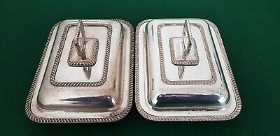 Pair of Vintage Silver Plated EPNS 27.5 cm Entree Dishes Serving Tureens