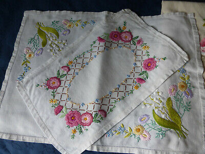 Hand embroidered Irish Linen tray cloths, roses, lily of the valley