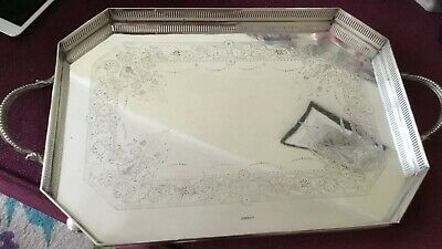 Beautiful Silver  Plated Chased And Heavy Two Handled Butler Tray M. W & S