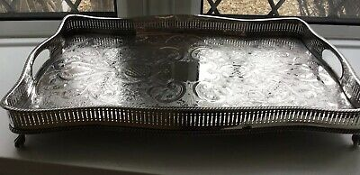 Vintage Silver Plate large gallery oblong tray on claw feet Downton Abbey !