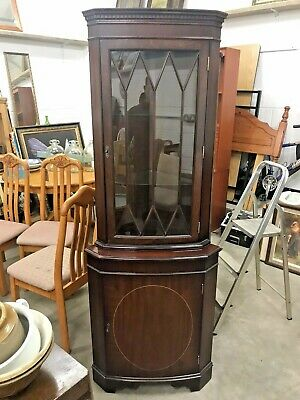 Antique Vintage Style Reproduction Mahogany Veneer Corner Unit Display Cabinet