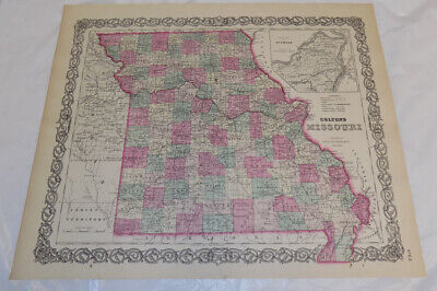 1855 Antique COLOR Colton Map of MISSOURI, b/w CHICAGO and ST. LOUIS