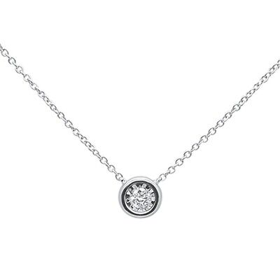 .10ct F SI 14k White Gold Round Diamond Bezel Solitaire Pendant Necklace 18""