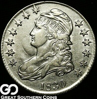 1830 Capped Bust Half Dollar, Choice AU++ Early Silver Half ** Free Shipping!