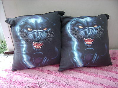 Black Panthers   Cats    One Pair Of Cushion 40  Cm / 16 Inches