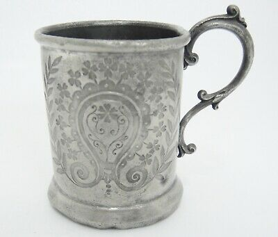 Antique Silver Plate Childs Cup Scroll Handle Impressed Clover Flower Design