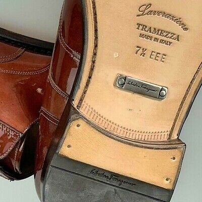 36d11f1a59ee2 Salvatore Ferragamo Shoes Brown Patent Tramezza Candido Derby 7.5 Eee 40.5  New