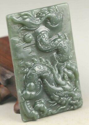 Chinese old natural hetian jade hand-carved dragon statue pendant 2.3 inch