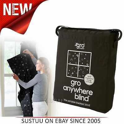 The Gro Company GroAnywhere Blackout Blind Stars and Moon│Black Window Curtain