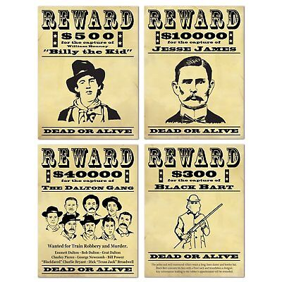 4 Western Wanted Posters Dead Alive Dalton Gang Billy The Kid Jesse James Bart