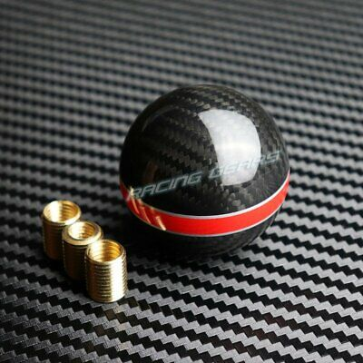 Real Carbon Fiber Manual Mt Gear Shifter Knob W/Double Line Red Stripe Universal