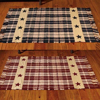 Primitive Farmhouse Star Country Cotton Woven Rug, Burgundy or Black and Tan