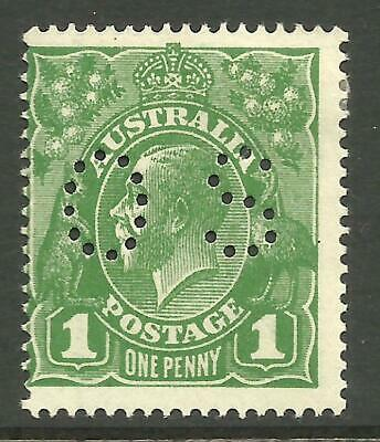 KGV - 1d Sage-Green 'OS' (Single w/m) *WATTLE LINE* Mint hinged (CV $100)