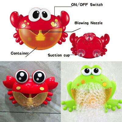 Bubble Machine Big Crab Frogs Automatic Bubble Maker Blower Music Bath Toy Baby