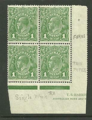KGV - 1d Sage-Green *BLOCK of 4* with 2 VARIETIES *MINT UNHINGED* (CV $200+)