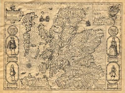 """Antique Replica The country of Scotland Map 1610 by John Speed 19.5""""x 14 3/4"""""""