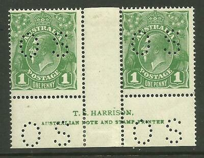 KGV - 1d Sage-Green 'OS' *HARRISON PAIR* with VARIETY Mint hinged (CV $100+)