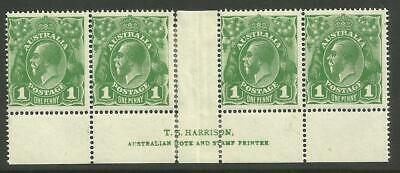KGV - 1d Sage-Green *HARRISON STRIP of 4* with 2 VARIETIES (CV $200+)