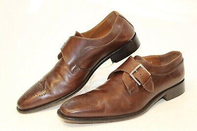 1807f5a5a50 Broletto Italy Made Mens 8 M Brown Leather Monk Strap Dress Loafers Dress  Shoes