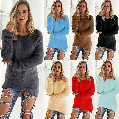 Womens Casual Winter Warm Knitted Fur Sweater Tops Pullover Baggy Shirts Blouse