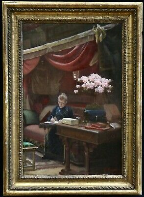 GUSTAVE REYNIER (c.1840-1912) SIGNED FRENCH IMPRESSIONIST OIL INTERIOR FLOWERS