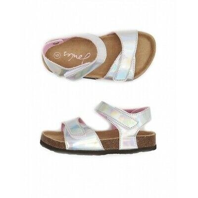 Joules TIPPY TOES Girls Two Strap Touch Fasten Summer Sandals Silver