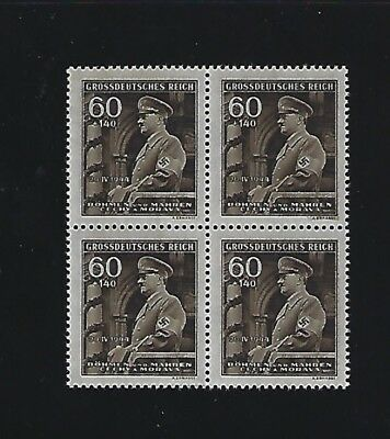 MNH Stamp Block #1  Adolph Hitler Birthday 1944 / Nazi Occupation / Third Reich