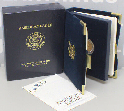 2000 W American Eagle 1/10 Oz Gold Proof Coin w/Box-Case & COA