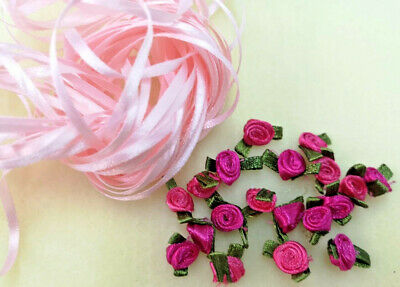 10 Metres Narrow Pink Ribbon with 20 Cerise Satin Roses - Extremely Limited