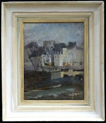 c. 1920 FRENCH POST IMPRESSIONIST OIL CANVAS SEINE PARIS - INDISTINCTLY SIGNED