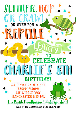 Reptile Party Invitations Personalised Invites Birthday Animal