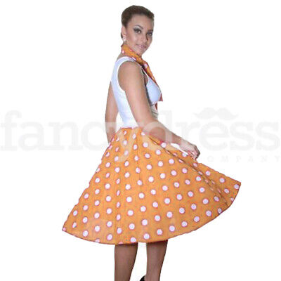 Orange & White Poodle Skirt 1950's 50's Rock and Roll Fancy Dress Jive Dance NEW