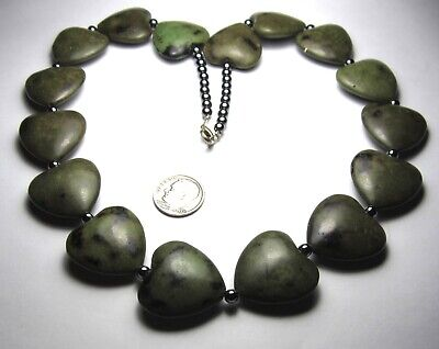 """20"""" Necklace Of Gorgeous Large Green Heart Shaped Stone Beads"""
