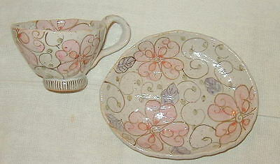 Vintage Hand Thrown Art Pottery Cup & Saucer Set, Hand Painted Flowers, Asian