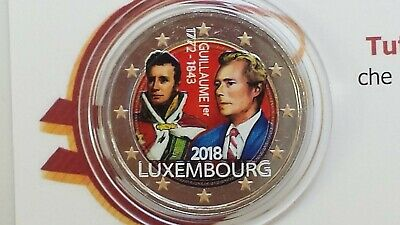 2 euro 2018 Lussemburgo color farbe couleur kleur Luxembourg Luxemburg Guillaume