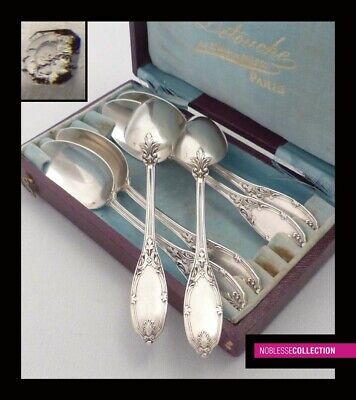 ANTIQUE 1890s FRENCH STERLING SILVER COFFEE/TEA SPOONS SET 6pc REGENCY st.